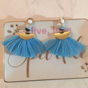 Jewelry - Blue & Gold tassel earrings